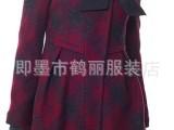 HELI韩版毛呢大衣 加厚中长风衣格子外套 方格大衣