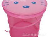 自产自销透气款洗衣篮 粉色网布可折叠涤纶38x45cm