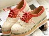 新鞋韩版女潮鞋牛津单鞋坡跟女鞋休闲欧美复古厚底松糕鞋英伦