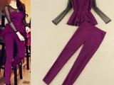 欧美女装秋新款明星同款波点网纱长袖裙摆上衣铅笔小脚裤套装