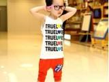 2014夏装 新款 韩版 童装儿童男童 字母爱心背心T恤+哈伦裤