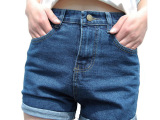 夏季韩版宽松卷边牛仔短裤高腰大码弹力显瘦阔腿短裤牛仔裤包邮