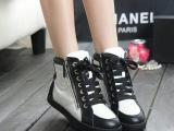 欧洲站系带平底运动鞋 陈若仪明星同款真皮高帮鞋韩版女休闲鞋潮