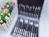 博顺供应 不锈钢餐具套装 高档西餐木盒24件套套装 青花瓷餐具