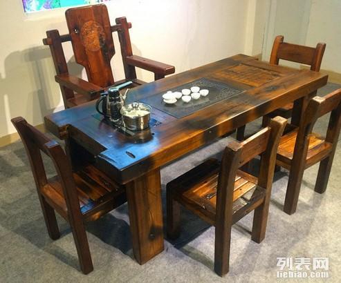 丽水市老船木茶桌椅子仿古茶台实木沙发茶几餐桌办公桌家具博古架