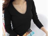 2014秋季新款女装 韩版长袖V领短款百搭纯色打底衫 T恤 厂家