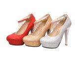 时尚串珠水钻流苏搭扣两穿超高跟防水台单鞋 婚鞋 金色夜店高跟鞋