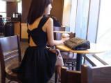167#2011韩l国交叉性感吊带裙背心裙 黑色礼服裙 露背裙