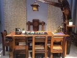 老船木家具电磁炉茶台,船木翘头茶台船木龙骨茶桌