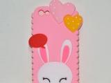 销售优质苹果系列手机外壳 硅胶爱心兔手机
