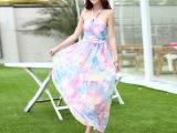 2015新款女装 波西米亚连衣裙露肩抹胸女神印花拖地长裙 高端订