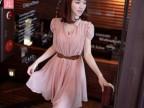 2013春夏新款韩版泡泡袖收腰甜美件套珍珠雪纺连衣裙批发TA868