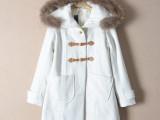外贸原单大牌女式中长款真毛领羊毛大衣女 冬季女装新款长袖大衣