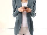 2014春装新款大码修身女外套薄针织衫 欧洲站中长款长袖开衫