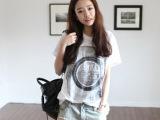 2013年春夏新款 日韩女装 街头风 女装宽松破洞印花圆领短袖T