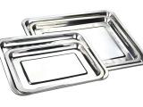 不锈钢方盘托盘 不锈钢方盘 不锈钢烤鱼盘、欧式方盘