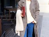 2014韩版最新款女装千鸟格大衣宽松休闲西装长款毛呢外套女