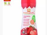 美国原装进口happy baby有机泡芙宝宝零食婴儿食品草莓味6