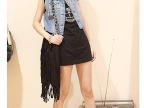 9060 2013新款 韩版夏季新品女装 个性复古 钉珠亮片 牛仔短马甲