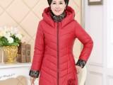 批发中老年女装棉衣修身时尚中年妈妈装长袖连帽长款冬装上衣外套