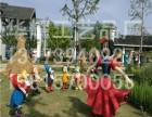 华耀工艺品-稻草人绿雕纯手工编织设计制作白雪公主与七个小矮人