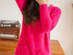 2014秋冬新款韩版女装 中长款圆领马海毛针织衫 打底衫毛衣针织衫