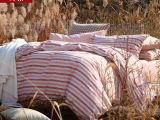 水洗棉四件套冬全棉加厚保暖4件套条纹男床上用品1.8米被套床笠款