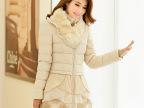 新款女装獭兔毛领中长款pu皮棉衣女外套 韩版蕾丝刺绣时尚棉大衣