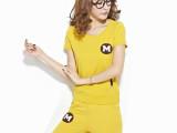 实拍夏季新款女士休闲运动韩版时尚套装短袖短裤弹力两件套潮