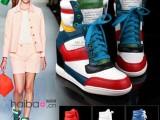 2014新款爆款厚底高帮鞋休闲鞋运动鞋系带拼色厚底内增高女鞋批发