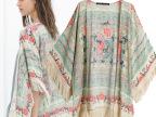 2014夏装新款欧美风民族风女装流苏印花披肩和服衬衫宽松上衣批发