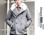 冬季新款男装韩版修身连帽双排扣毛呢大衣 羊羔毛大翻领领外套