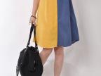 2014韩版大码女装圆领撞色拼接休闲时尚短袖连衣裙