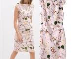 2014春夏新款欧风美ZA印花无袖连衣裙修身开叉包臀裙