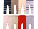 女童春秋新款男女宝宝超舒适纯棉薄款打底裤 条纹针织弹力长裤
