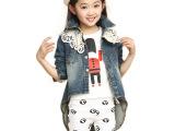 童装2014韩版春秋款女童全棉牛仔外套中大女童燕尾服一件起批