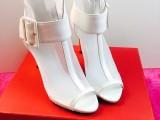 欧美奢侈时尚金属高跟女鞋 大牌网纱系扣女士鱼嘴细跟鞋淘宝代理