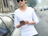 2014男士长袖t恤韩版修身男V领纯色 棉打底衫
