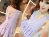 韩版瑞丽百搭钉珠两件套连衣裙