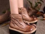 天妮格原创女鞋牛皮靴子个性短靴复古擦色松糕跟单靴真皮女靴厚底