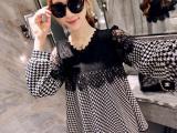 2015秋装新款女装 韩版蕾丝拼接千鸟格大码长袖宽松孕妇连衣裙女