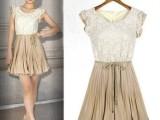 欧美女装2013春夏新款女装欧美范蕾丝雪纺大码连衣裙裙子TA70