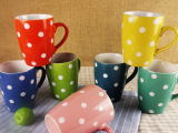 波西米亚风格 375ml手绘圆点多款混色礼品鼓形杯 外贸陶瓷马克