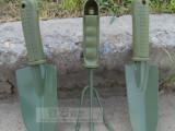 军绿色园艺工具三件套 花铲子 铁铲子 铁锹 养花工具