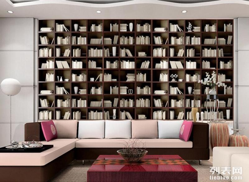 壁纸 展厅3d书架墙布定做