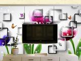 厂家直销 欧米系列钢化玻璃可定制 客厅用品立体玻璃电视背景墙