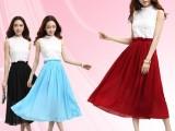 韩国东大门女装新款连衣裙韩版长裙夏白色无袖雪纺连衣裙