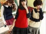 2014秋冬新款英伦学院风娃娃领波点女式针织衫 毛衣