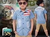童装牛仔衬衫 夏季中大童短袖衬衫8-10-16岁儿童男童经典牛仔