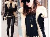 2014新款女装 韩版机车服羊羔毛短款大翻领毛领棉袄棉衣